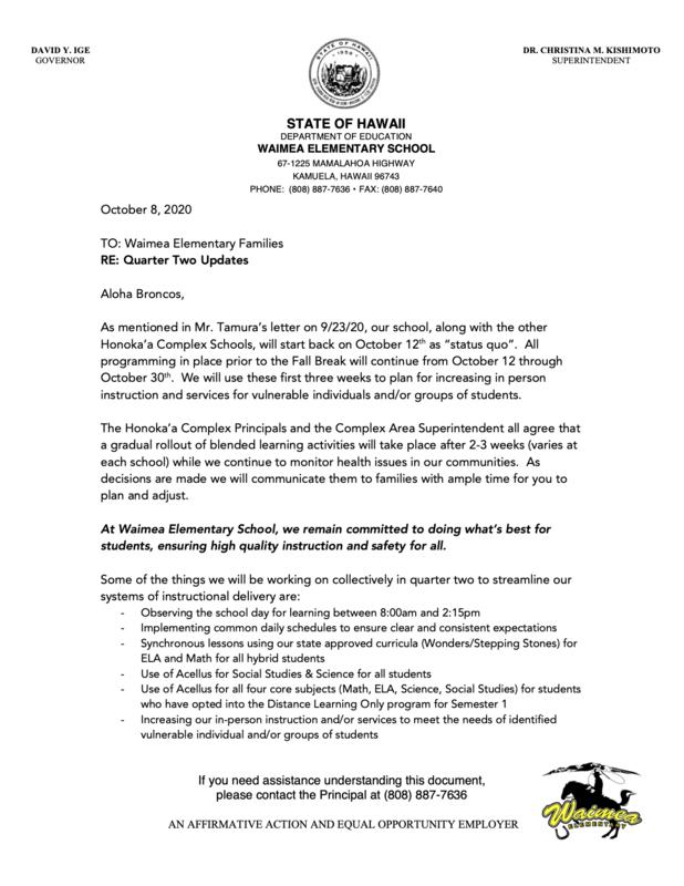 parent letter 2nd quarter updates