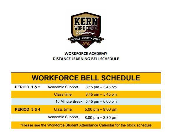 2020-21 Workforce Distance Learning Bell Schedule