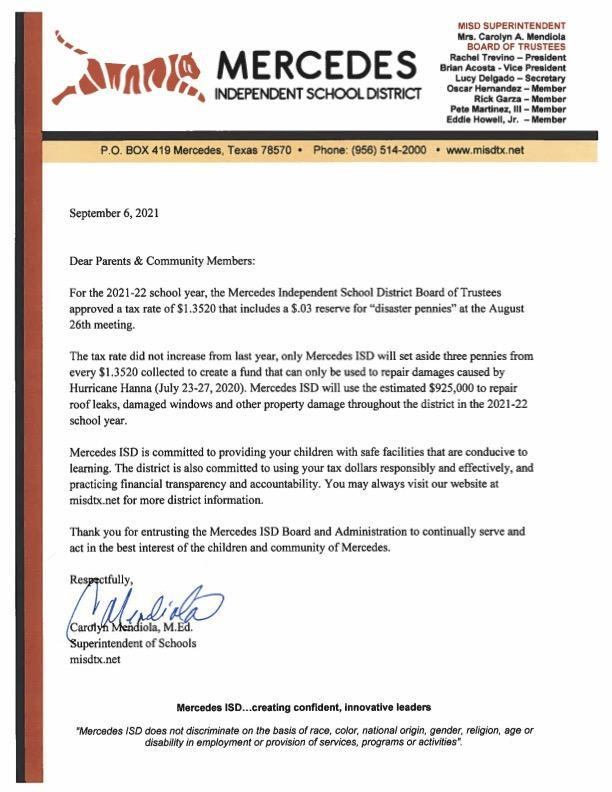 Letter from Superintendent: Approved Tax Rate Featured Photo