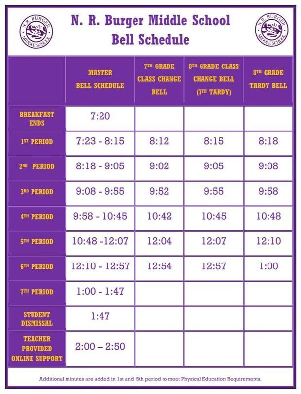 N.R. Burger Middle School 2020-2021 Bell Schedule Featured Photo