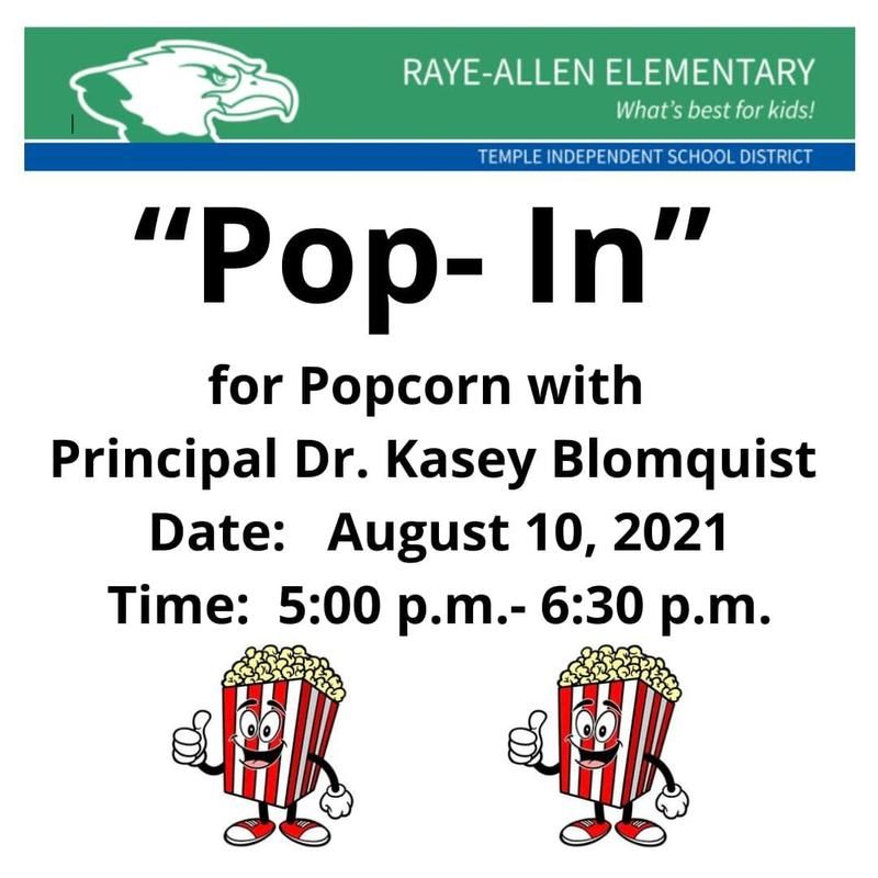 POPCORN WITH OUR PRINCIPAL - 8/10/21 Featured Photo