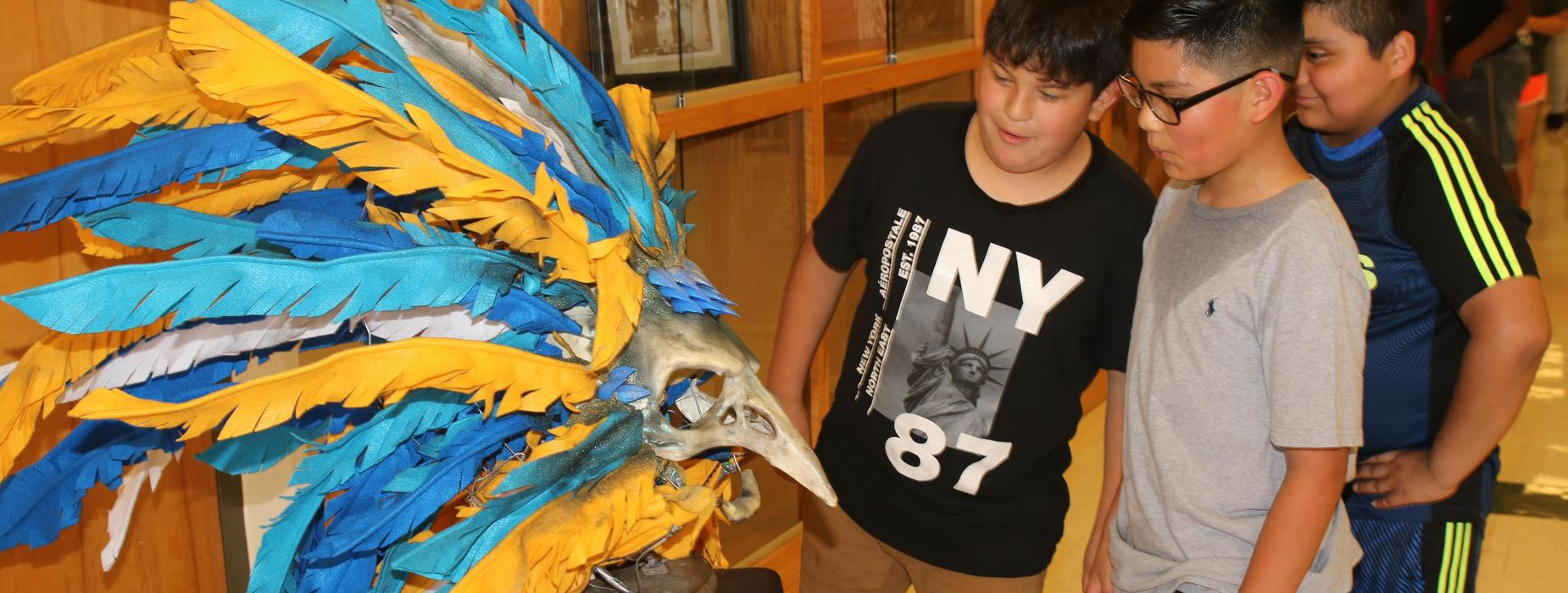 Students at museum exhibit