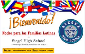 Bienvenido - Noche para los Familias Latinas en Siegel High School - 1 de noviembre de 2018 a las 5:45pm a 7:00pm
