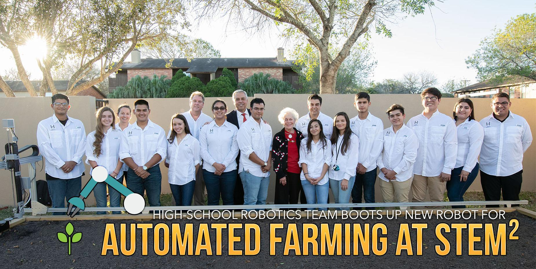 High-school robotics team boots up new robot for automated farming at STEM²