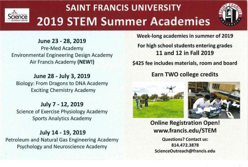 Saint Francis University 2019 STEM Summer Academics Thumbnail Image