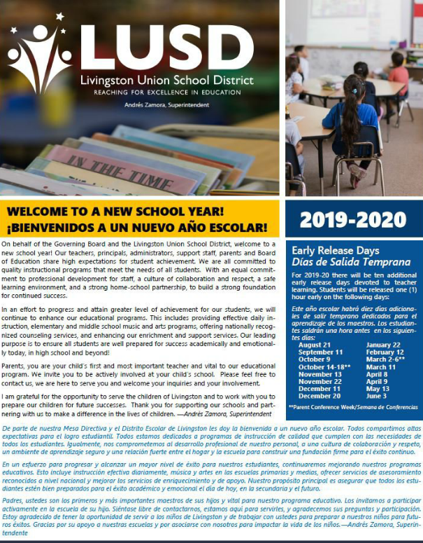 Back to School Newsletter 2019