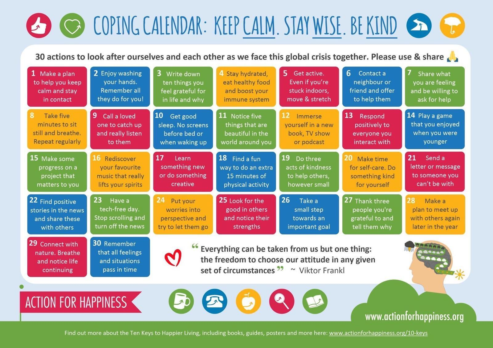 30 Actions for Self-Care and Coping