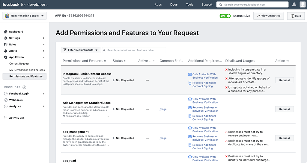 Add Permissions and Features Page