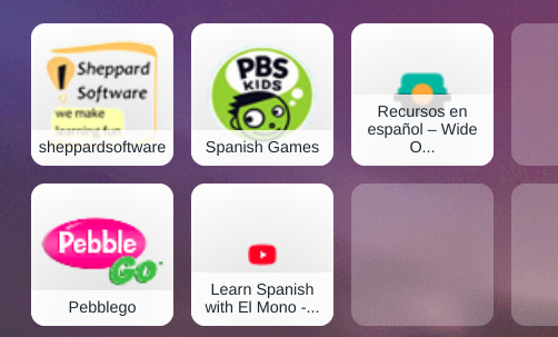 Tiles with Spanish websites