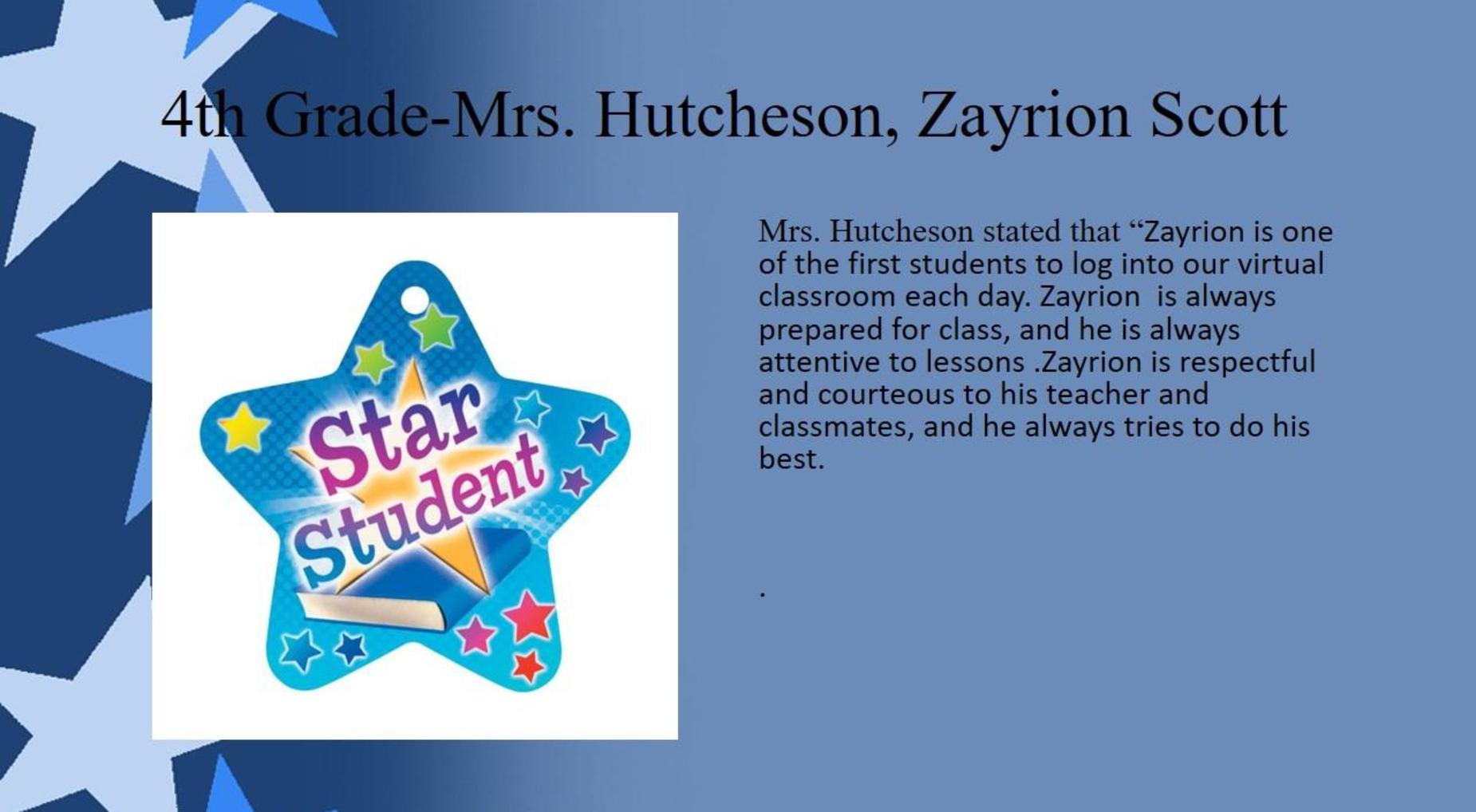 Zayrion Scott, 4th Grade