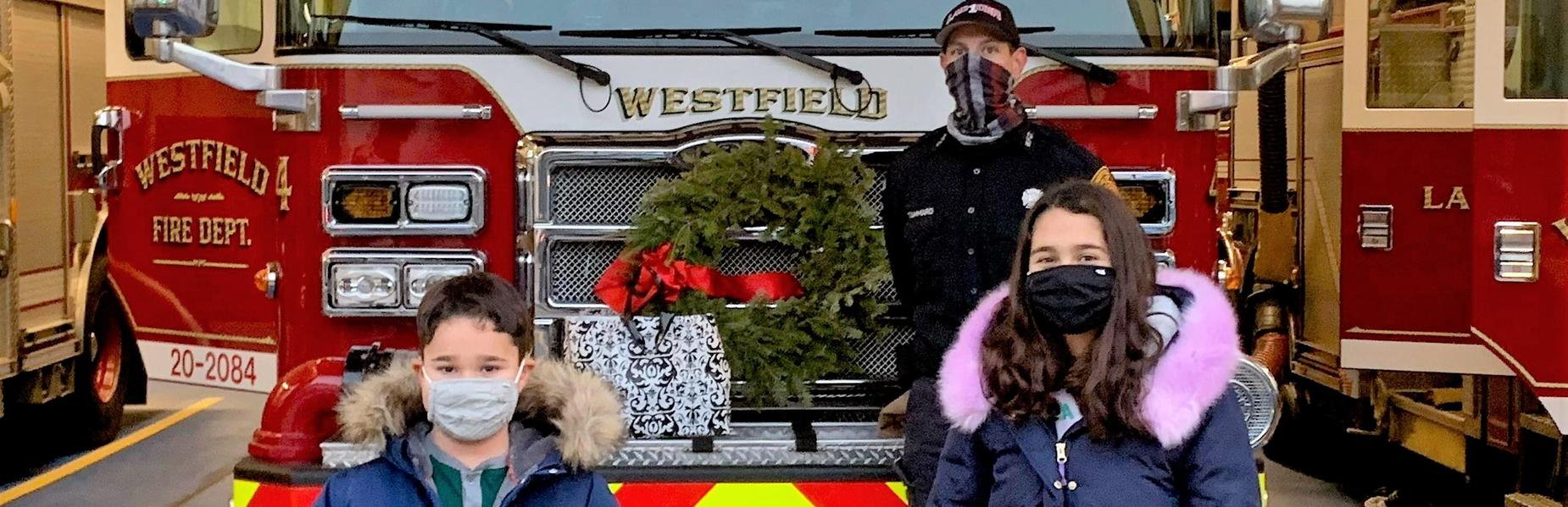 Jefferson 1st grader Sebastian Gould and sister Olivia Gould, a 5th grade member of the school's Early Act Club, helped to deliver masks and handmade lanyards to the Westfield Fire Department and other first responders.