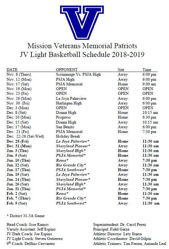 VMHS JV Light Schedule