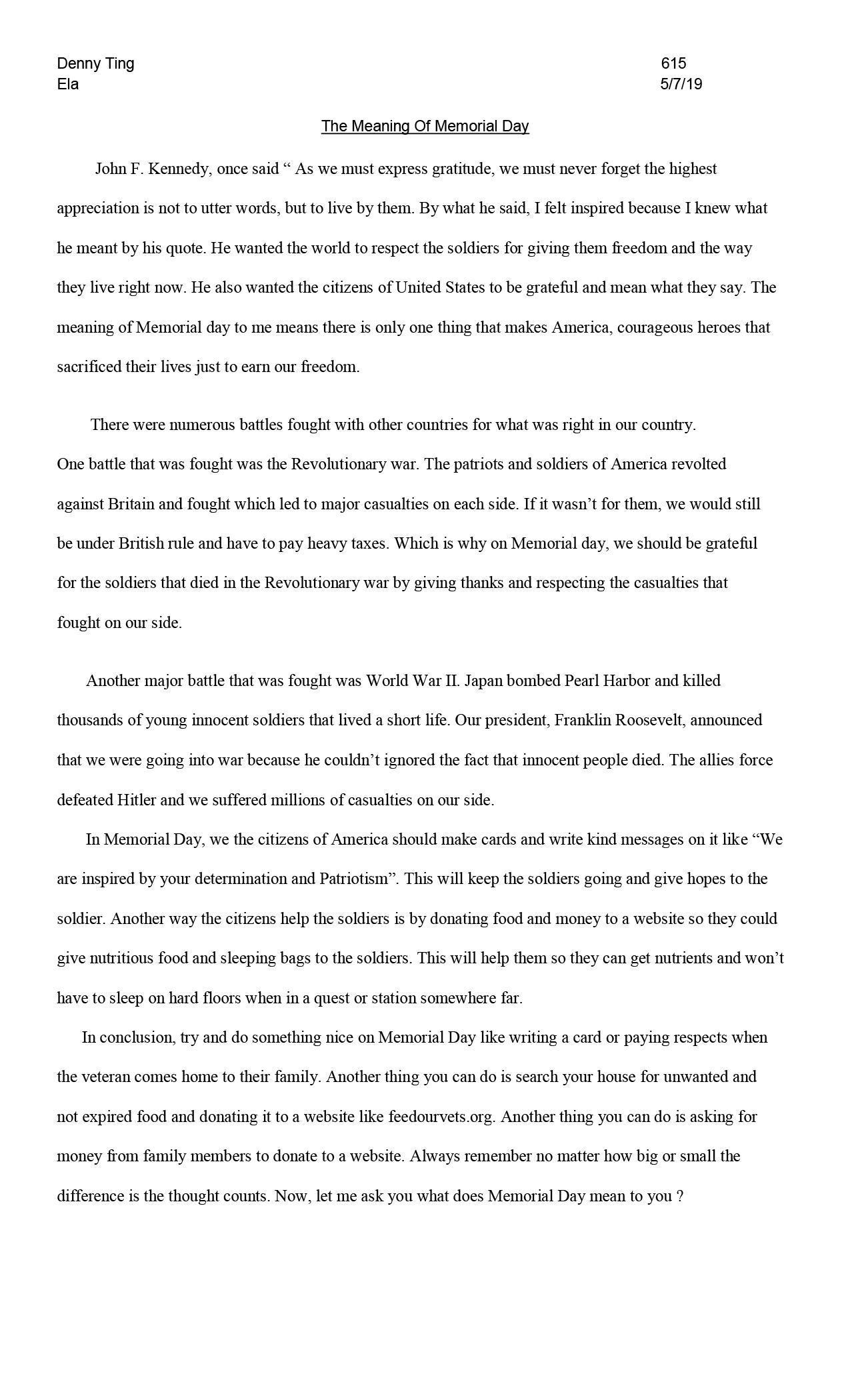 Memorial Day Essay 2