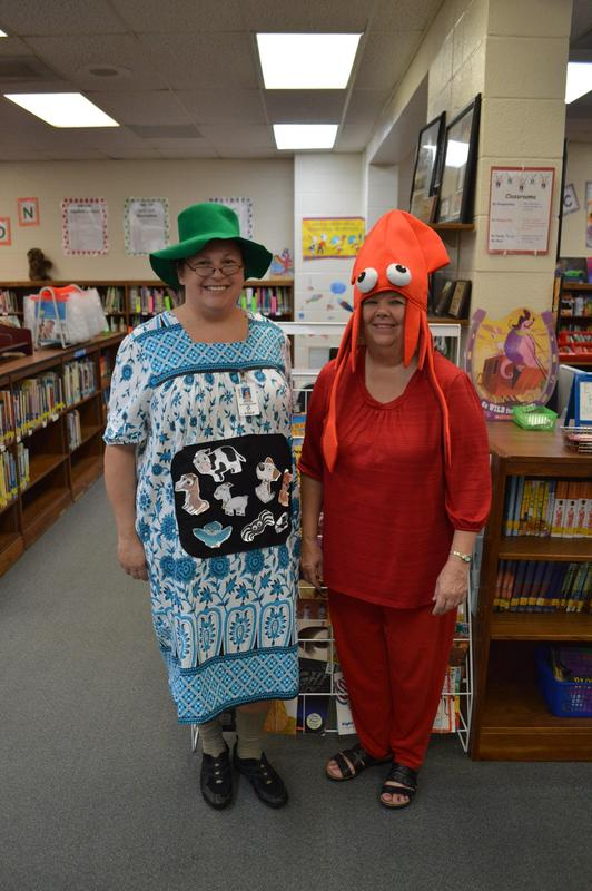 Staff members dressed for book character day.