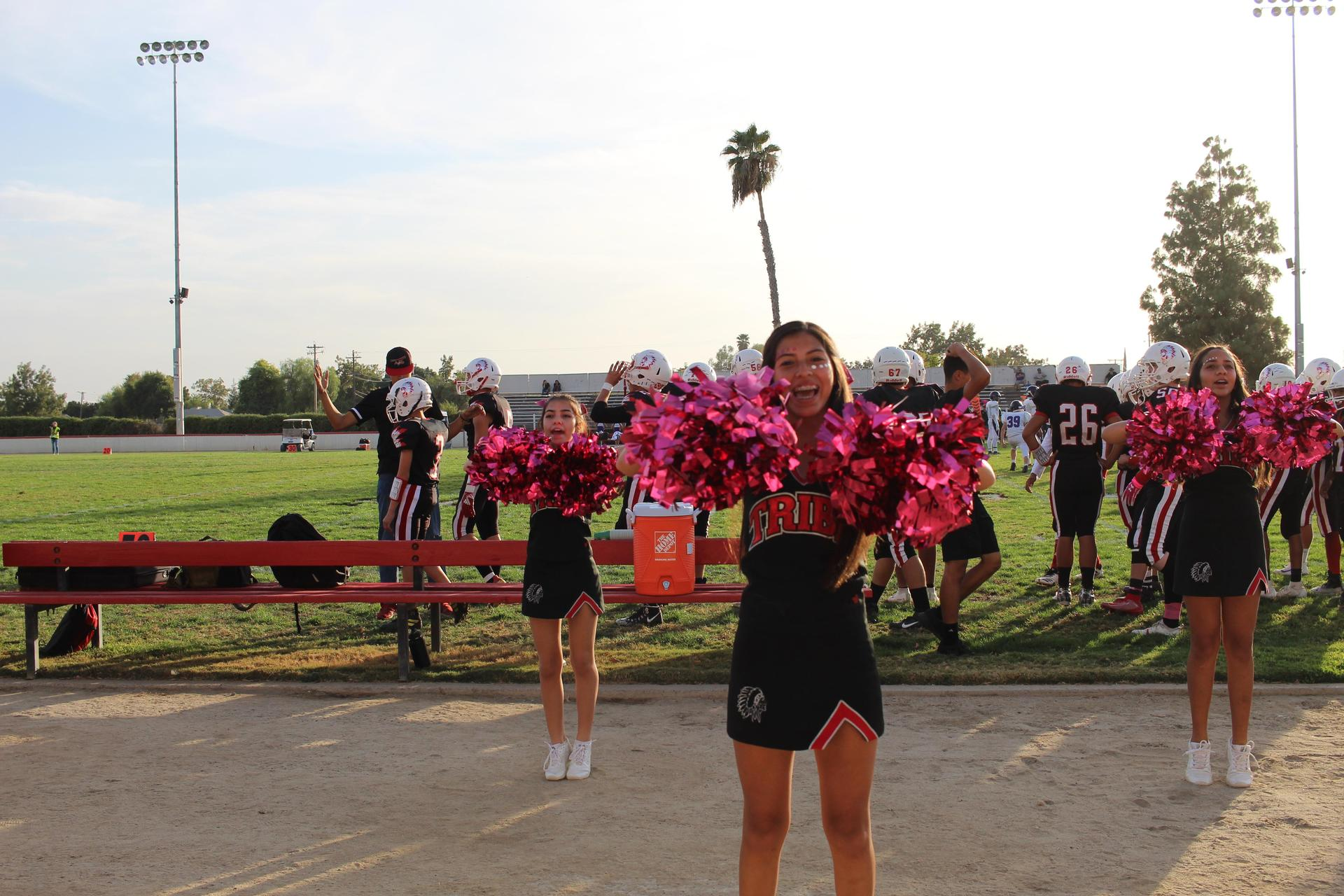Tribe Cheerleaders During the Football Game