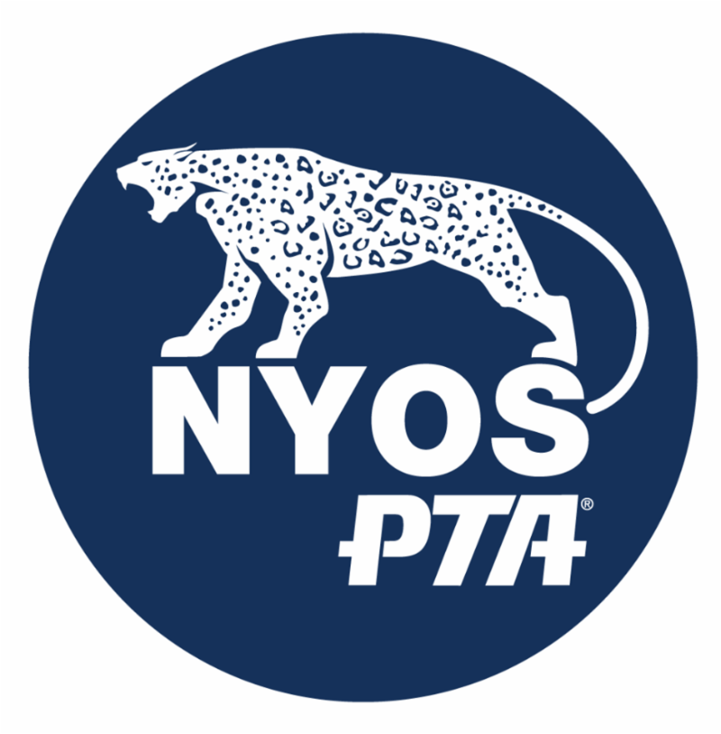 Navy blue and white logo with a jaguar that says