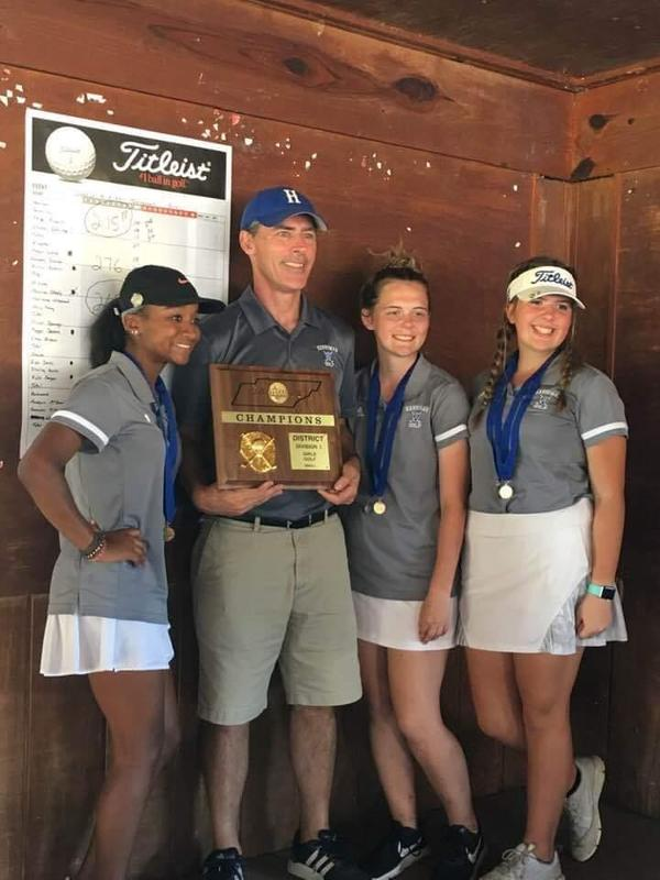 Lady Devils Golf Team with Coach Clark