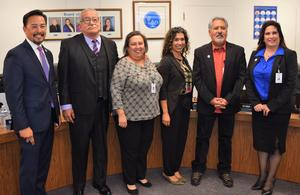 During Baldwin Park Unified's organizational meeting on Dec. 10, Board of Education member Christina Lucero was nominated as board president and Betsabel Lara was selected to serve as vice president and clerk. Pictured are, from left to right, Superintendent Dr. Froilan N. Mendoza, board member Santos Hernandez, Jr., President Lucero, Vice President Lara, member Robert Guzman Varela and member Deanna Coronado Robles.