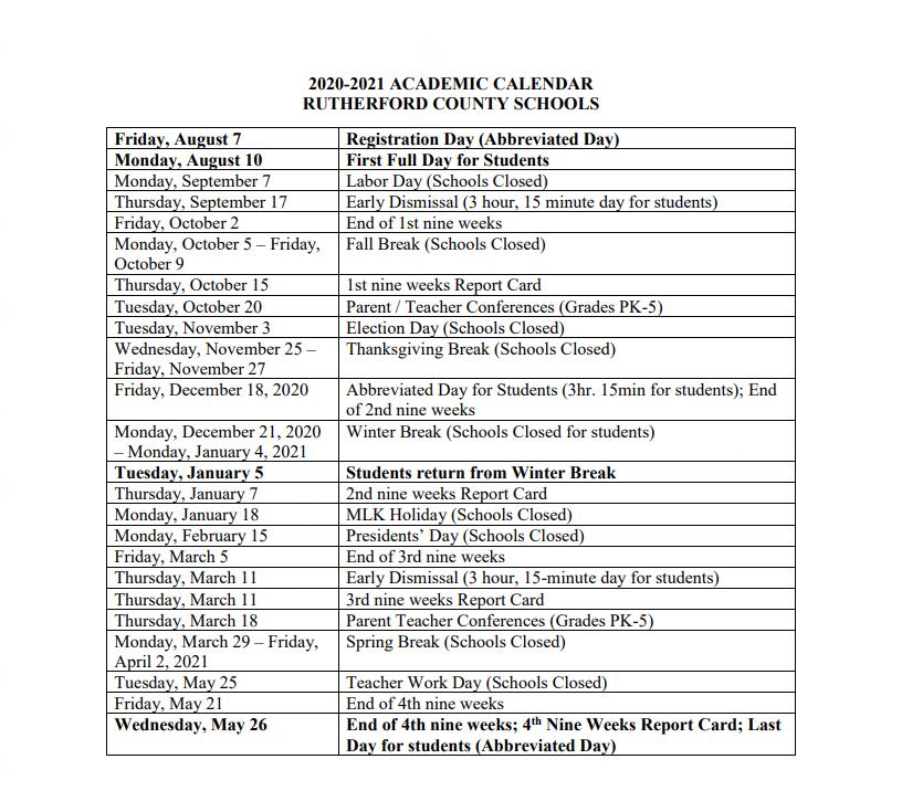 Rutherford County Schools Calendar 2021 Student Handbook – Students – Cedar Grove Elementary School