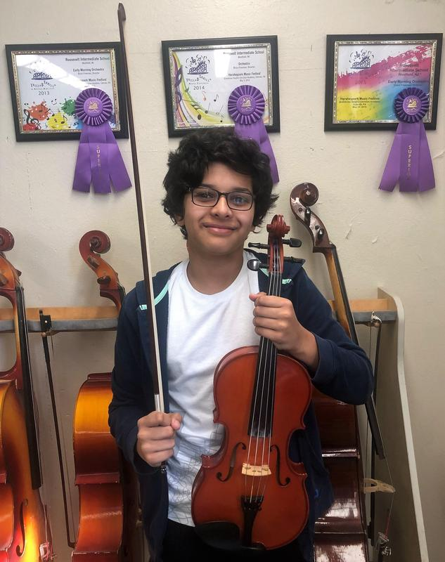 Roosevelt 8th grade viola player Rishi Shroff is among the seven intermediate students from Westfield Public Schools who will perform with the CJMEA Intermediate Orchestra in March.