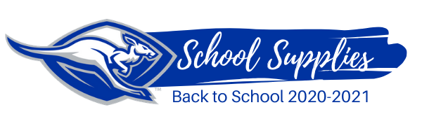 Kangaroo Logo and a blue brush stroke with the wording 'School Supplies'