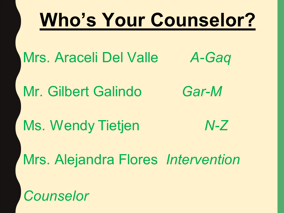 Who's your counselor powerpoint slide