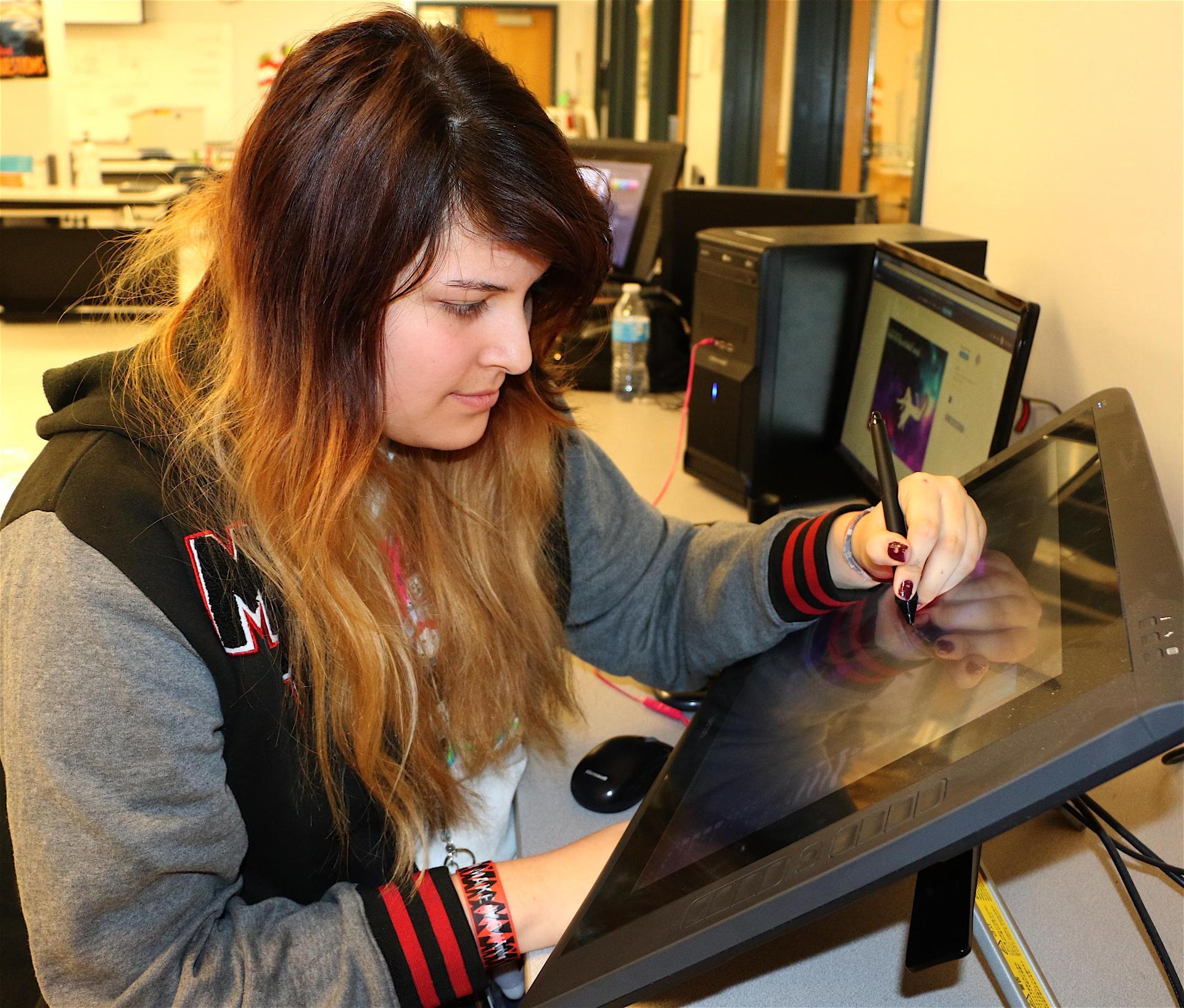 graphic artist on computer