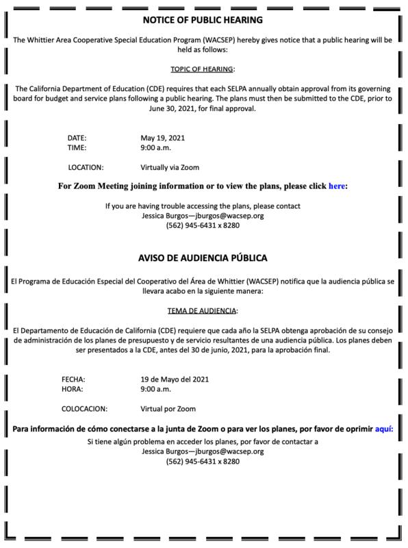 Screenshot of public hearing notice.
