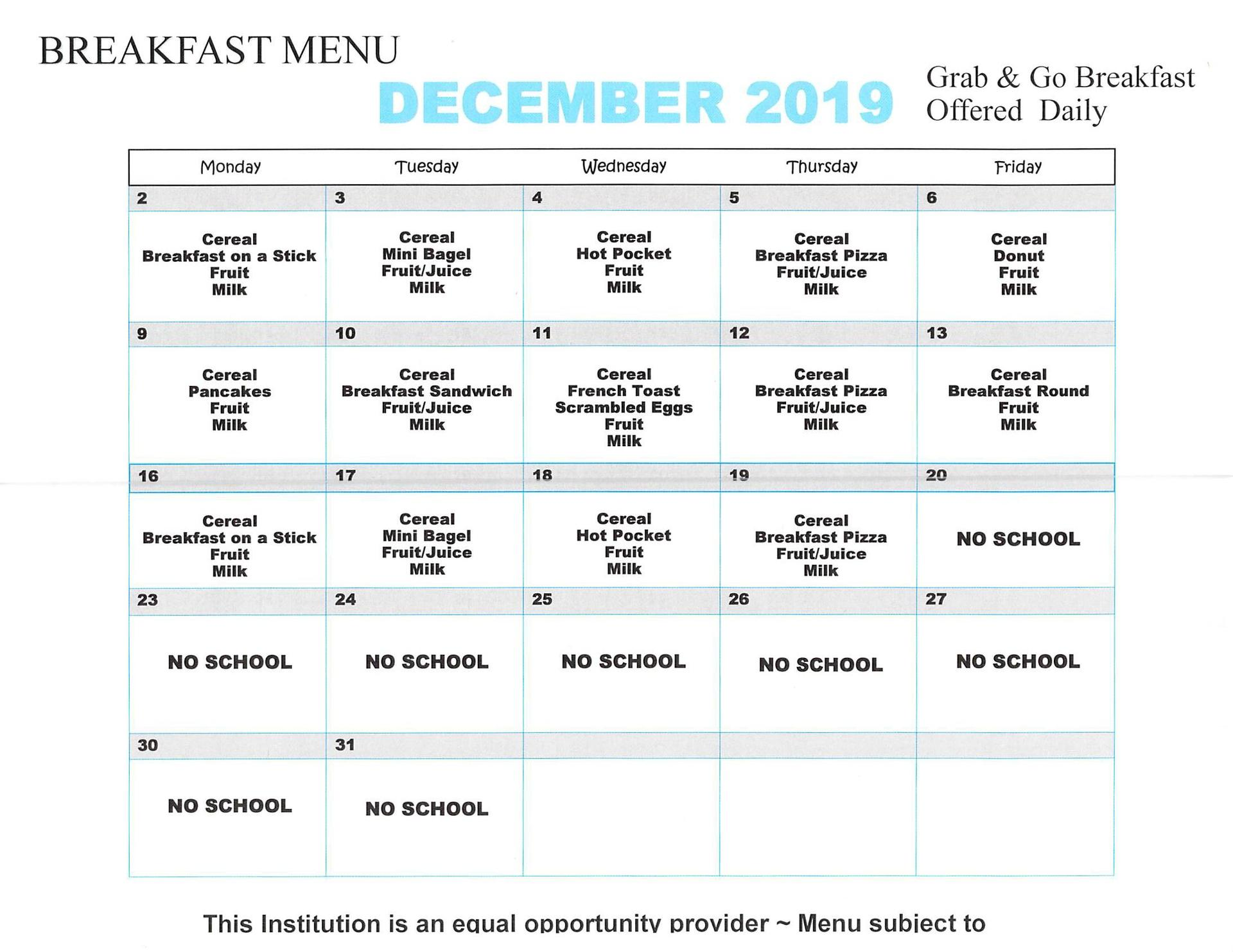December 2019 Elementary Breakfast Menu