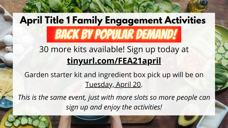 More Slots Available: April 2021 Family Engagement Featured Photo