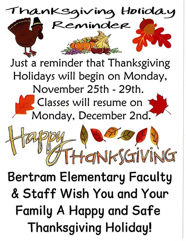 Thanksgiving Holiday  will begin on Monday, November 25th - 29th.  Classes will resume on Monday, December 2nd. Thumbnail Image