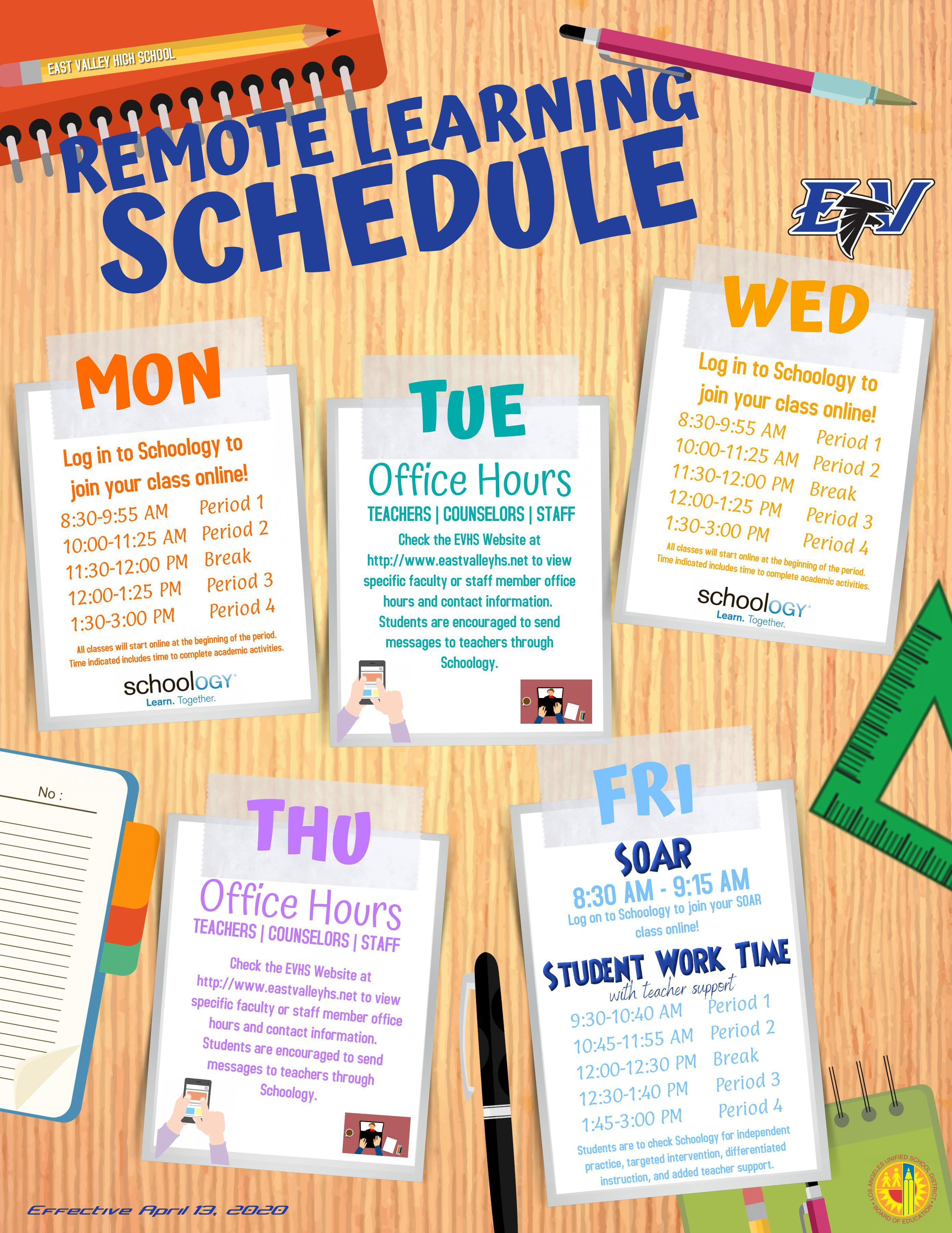 Students Remote Learning Schedule