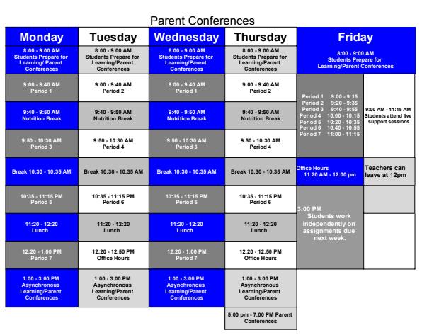 schedule for last week of October