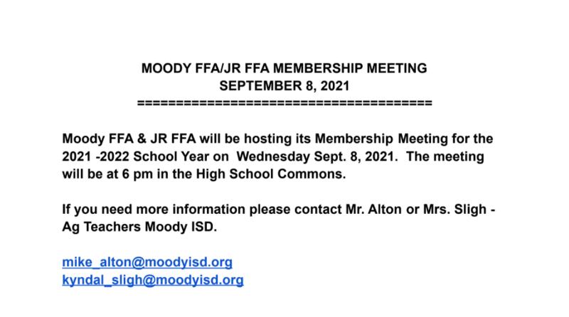 Moody FFA/Jr. FFA Membership Meeting Featured Photo
