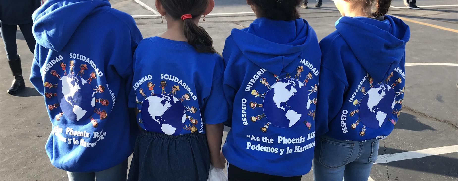 Students wearing EHWLA's spirit gear
