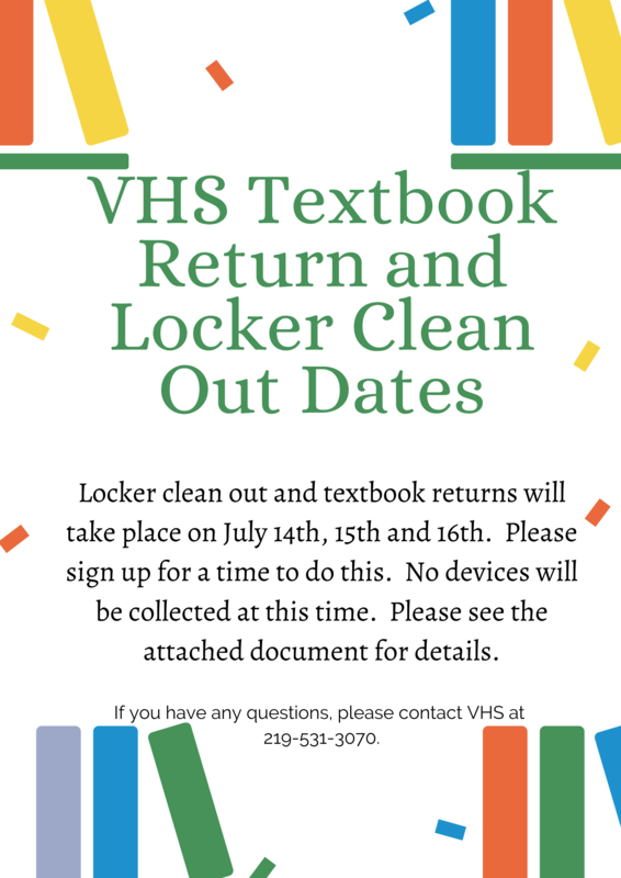 VHS Locker clean out and textbook returns