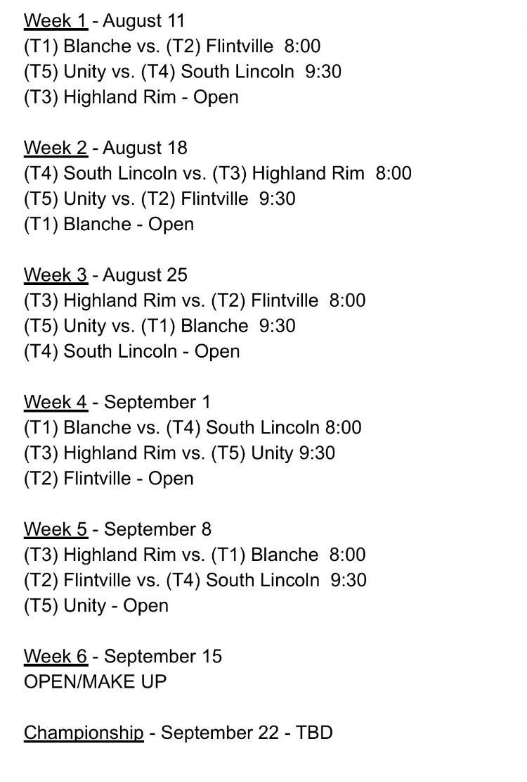 Jr. pro Schedule
