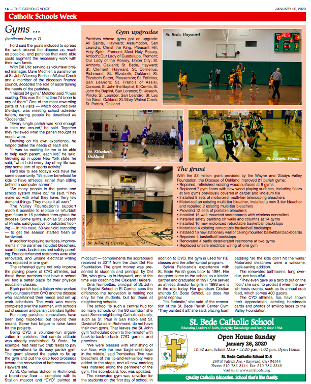 (Continued) St. Bede receives a grant to renovate their gym.