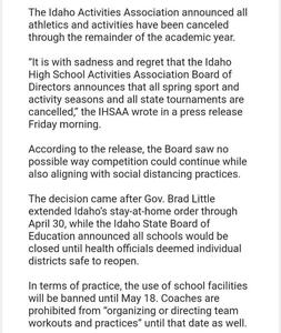 School Spring Sports Canceled