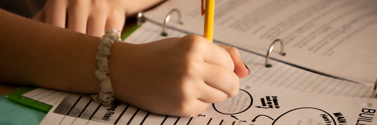 image of student hand doing school work