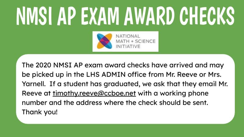 See Mr. Reeve for NMSI Award Checks