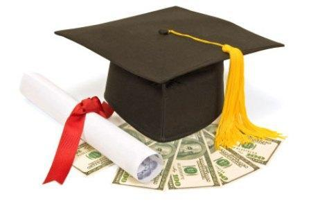 Graduation hat and scholarship money