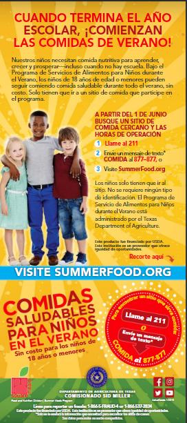 Healthy Summer Meals at Lucas Elementary/Comidas de Verano en la Escuela Lucas Thumbnail Image