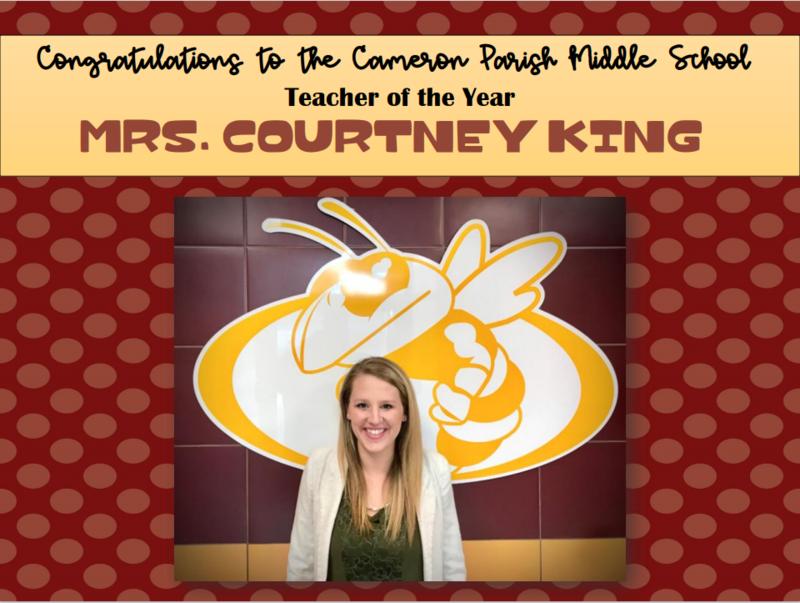 Cameron Parish Middle School Teacher of the Year!