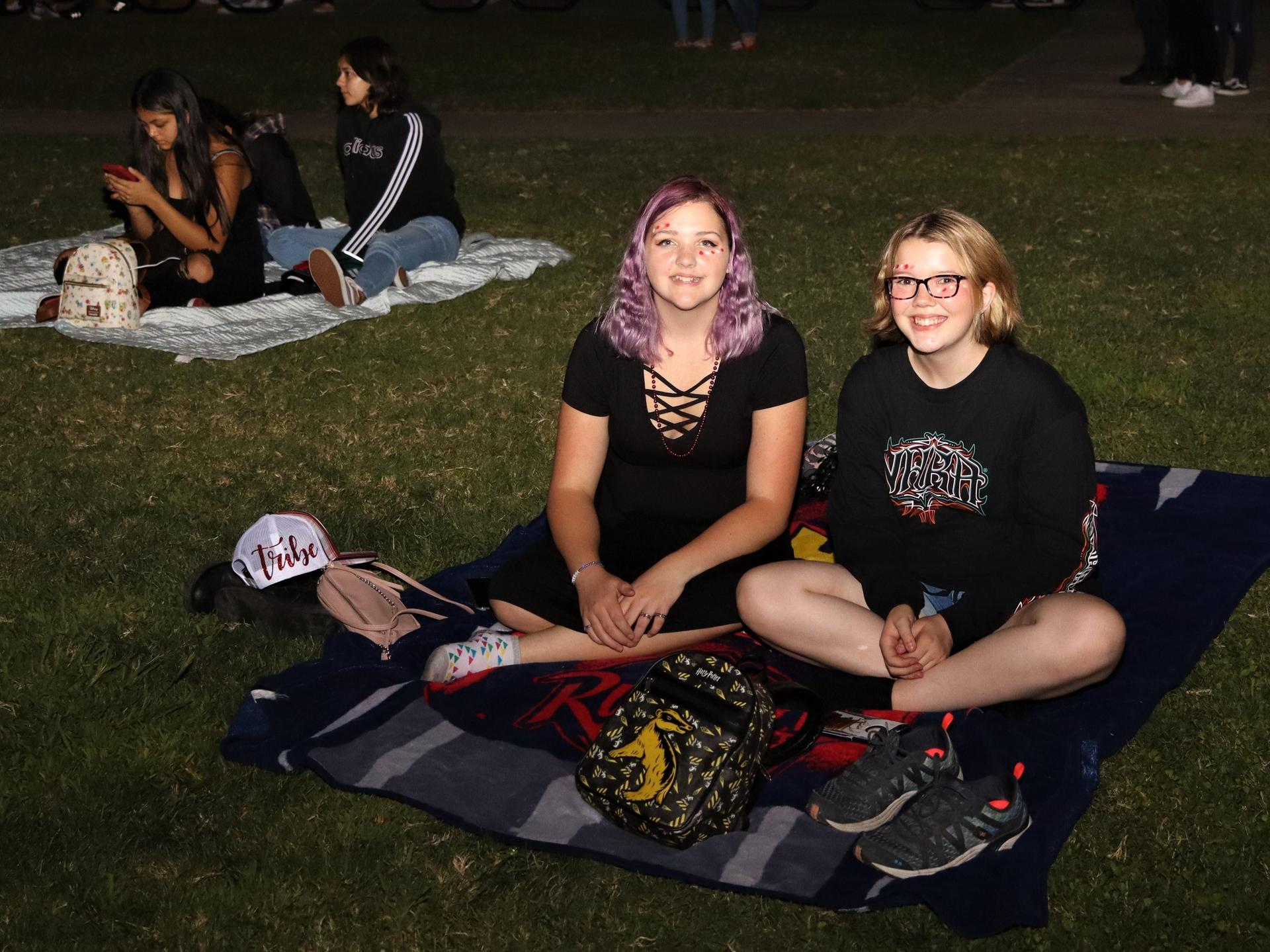 Students enjoying a movie after the football game versus Lemoore
