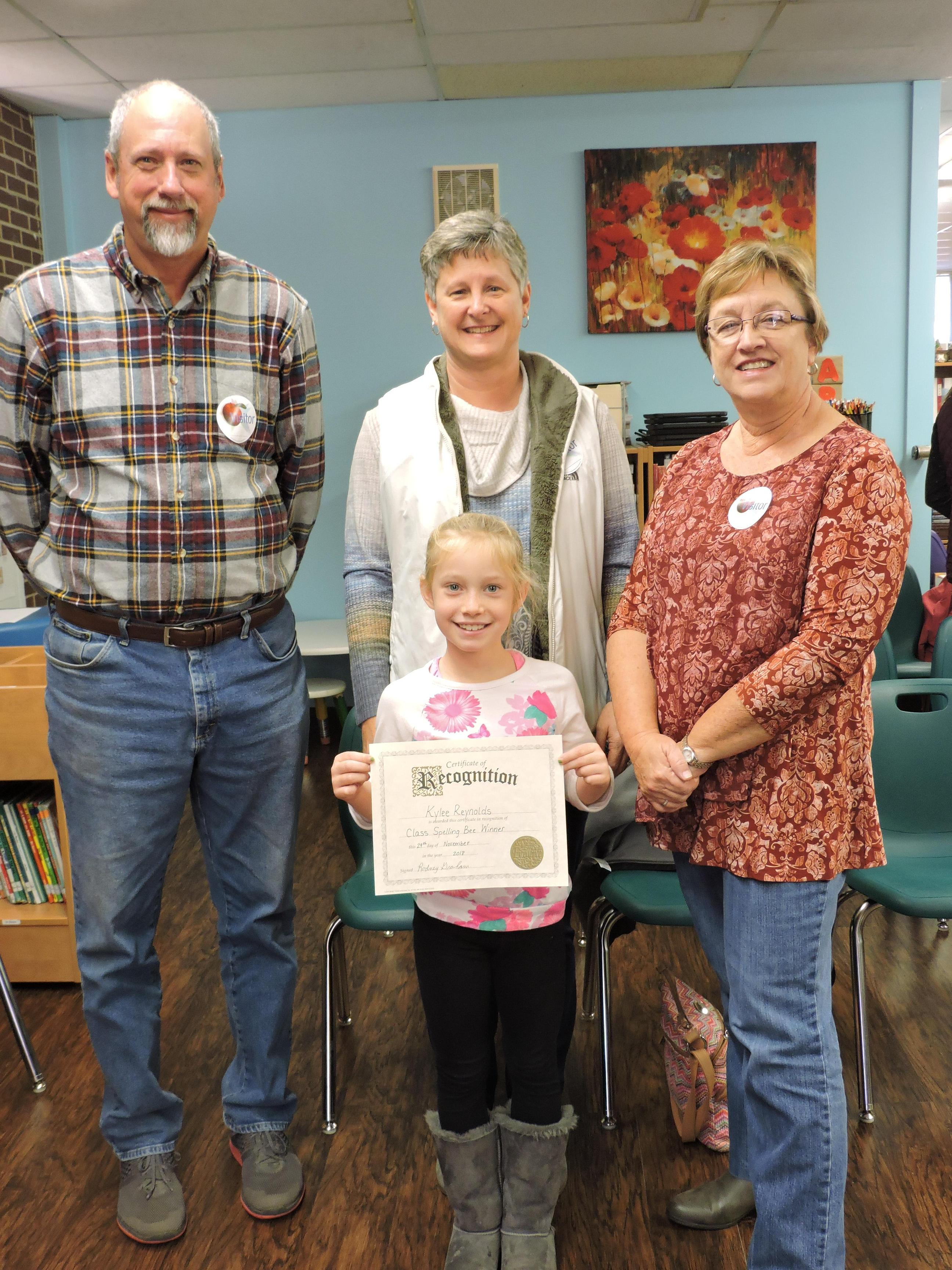 Spelling Bee Participant with grandparents