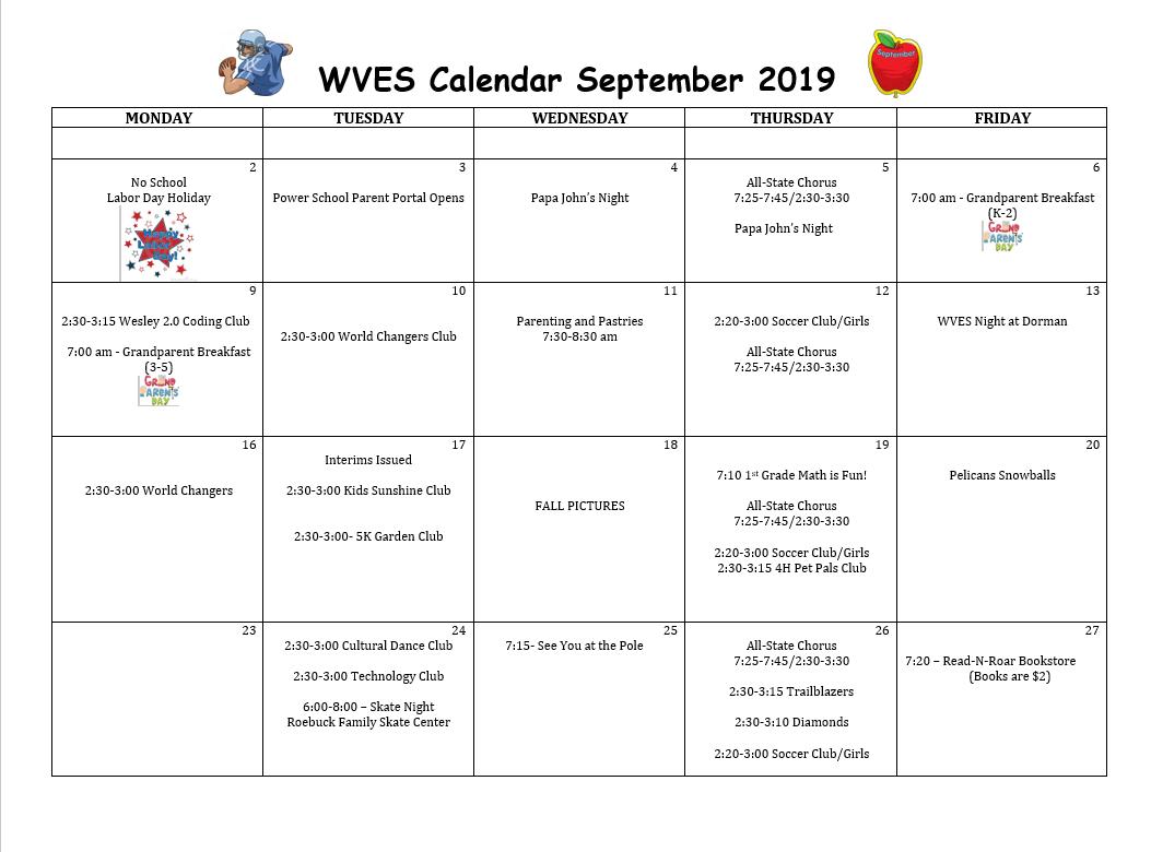 September Student Calendar- WVES 2019