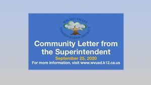 Community Letter from the Superintendent 09/25/2020 Featured Photo