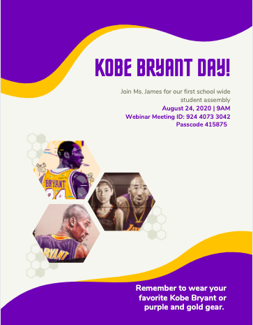 Join Ms. James for our First School Wide Student Assembly: Kobe Bryant Day Featured Photo
