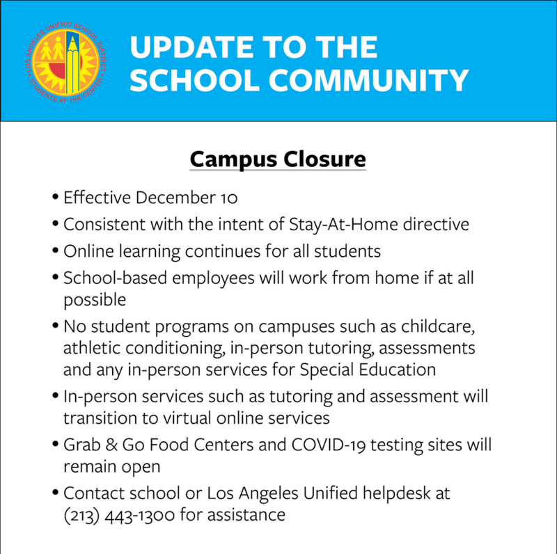 Update to the School Community - Campus Closure Featured Photo
